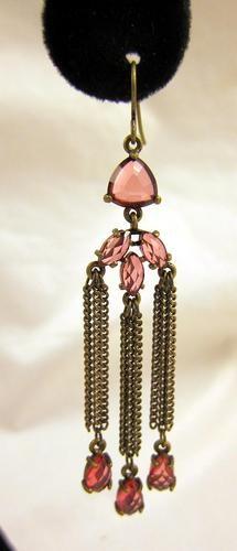 Modern Fashion Jewelry Pierced Earrings Brass Pink Rhinestones Dangle Classy NEW