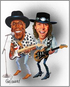 Buddy Guy and Stevie Ray Vaughan Limited Edition Celebrity Caricature by Don Howard by DonHowardStudios on Etsy