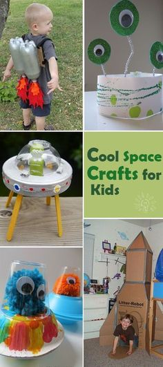 These cool space crafts add a creative spin and make the scientific topic more interesting for curious kids! Space Crafts Preschool, Craft Activities, Space Activities For Kids, Space Projects, Projects For Kids, Art Projects, Astronaut Craft, Spaceship Craft, Alien Crafts