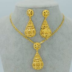 09280cca30 Anniyo Jewelry sets Necklace Earrings,Gold Color African Party Jewelry,Arab  Wedding Gifts/Ethiopian New Jewelry