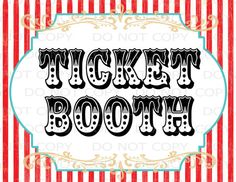 "Printable DIY Vintage Circus Ticket Booth Table sign - 8.5"" x 11"" INSTANT DOWNLOAD"
