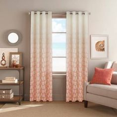 product image for Seascape Grommet Top Window Curtain Panel in Coral