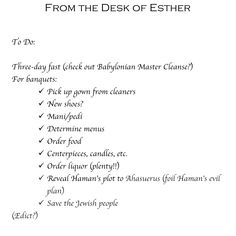 Jewish humor. Jewnion Label's Purim memo from Esther ;)