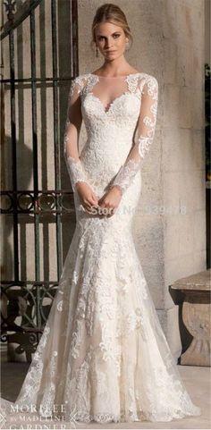 Vestido de noiva sereia com manga
