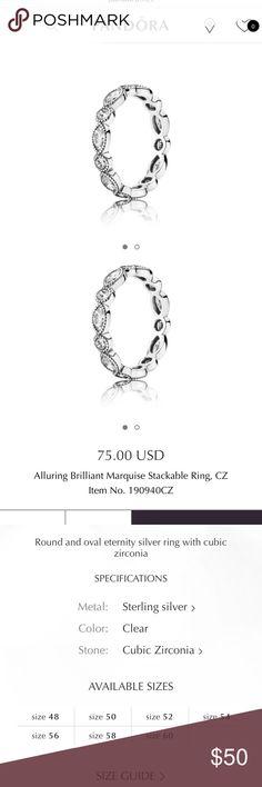 Pandora Ring Beautiful pandora ring. Sterling silver & cubic zirconia Pandora Jewelry Rings