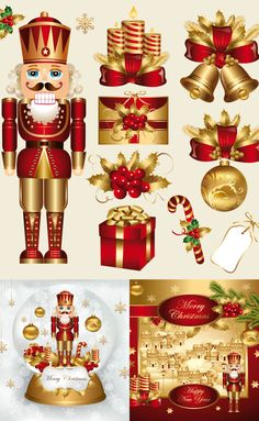 Buy Vector set: traditional christmas elements by Marinamik on GraphicRiver. Vector set: traditional christmas and new year elements and decoration. Merry Christmas and Happy New Year. Nutcracker Christmas, Merry Christmas And Happy New Year, Christmas Paper, Vintage Christmas, Christmas Holidays, Christmas Graphics, Christmas Clipart, Christmas Printables, Christmas Crafts