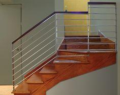 handrails for inside staircases | Modern Stainless Stair Railing © in Stainless Steel & Oak Cap Railing ...