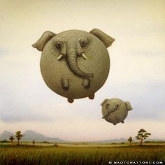 Naoto Hattori paints elephant balloon animals in this funny surrealism painting « « Mayhem & Muse