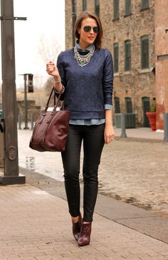 Blue, black & bordeaux business outfit  - casual with a touch of glam