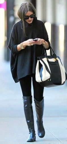 comfy fall outfit : black poncho + bag + skinnies + over knee boots