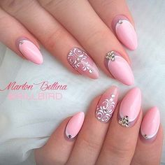 Fancy Light Pink Acrylic Nails with Stunning Nail Art and Rhinestone Designs Elegant Nail Designs, New Nail Designs, Elegant Nails, Light Pink Acrylic Nails, Acrylic Nail Art, Pink Nails, Gorgeous Nails, Pretty Nails, Nail Art Arabesque