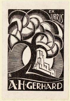 Ex libris for Adrien Henri Gerhard by Frederika Sophia (Fré) Cohen - Early 20th century