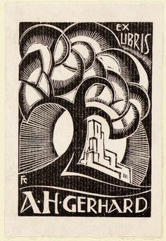 Ex libris for Adrien Henri Gerhard by Frederika Sophia (Fré) Cohen - Early 20th century