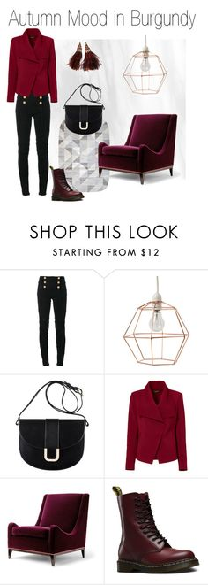 """Autumn Mood in Burgundy"" by seraphinaspapaterie on Polyvore featuring Mode, Balmain, A.P.C., Greylin, Dr. Martens und Louis Vuitton"