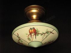 antique lights 1920 1930 | Vintage Shade with Parrots on Antique Ceiling Light Fitter 2 available