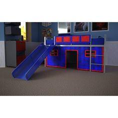 Boy Twin Loft Bed with Slide $199...  I can just picture Jake sliding in and out of bed in the middle of the night, ha!