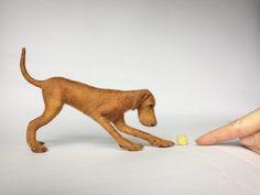 Needle felted Vizsla, dog sculpture.
