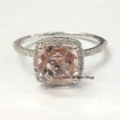 Cushion Morganite Engagement Ring Pave Diamond Wedding 14K White Gold 7mm