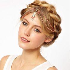 Boho Pearl Gold Wedding Headdress Headband Head Band Crown Chain Headpiece 2016