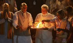 Modi performing Ganga puja at Varanasi. The Ganga, our National river is the largest river of Indian subcontinent , flowing east through the Gangetic plains of northern India into Bangladesh.