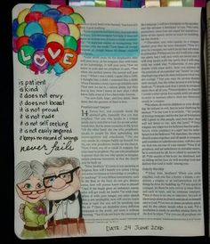 Bev Knaup bible journaling  1 Corinthians 13:4-7                                                                                                                                                                                 More