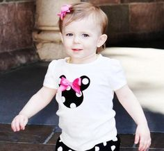 Disney Inspired Minnie Mouse Appliqued Shirt - Minnie Ears and Bow - Baby Toddler Girls - Perfect for Birthdays Disney Trips. $16.00, via Etsy.