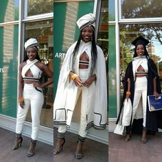 2016 - Modern Xhosa attire design to her university graduation. More university graduation outfits Xhosa Attire, African Attire, African Wear, African Dress, African Fashion, African Outfits, African Style, African Clothes, Red Fashion
