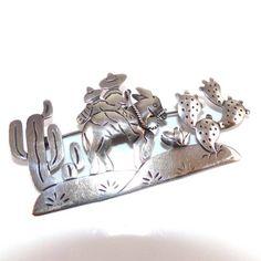 Vintage Sterling Silver Handmade Mexico Desert Cactus Donkey Pin Brooch  #Handmade