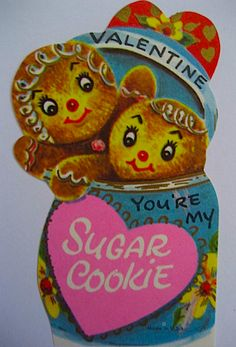 Vintage Gingerbread Boy and Girl Valentines Day Card. One of my favorites!!