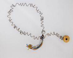 Victoria Ioannidou,Necklace, 2014, bronze, plastic, cables, resin.