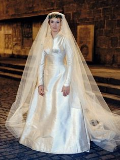 """Maria's wedding dress, Designed by Dorothy Jeakins for """"The Sound of Music."""""""