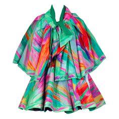 1991 Leonard Haute-Couture Firework Print-Silk Dress & Cape | 1stdibs.com
