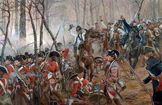 Battle of Guildford Courthouse by Don Troiani. This picture is a bit later in the battle. William Washington's Light Dragoons are now charging in to the flank of the unprepared Guard's battalion.