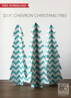 FREE printable paper Christmas Tree (aqua, tan and red color options) /  86lemons.com