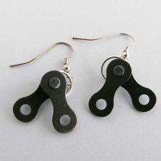 Cycling bicycle chain earrings bike jewelry by WanderingJeweler, $15.00