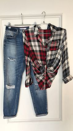 Distress high waist jeans & plaid #swoonboutique