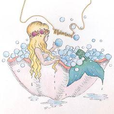 Mermaid in clamshell taking a bath <3 Mermaid Artwork