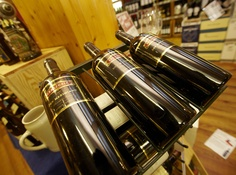 close up shot of wine in our store