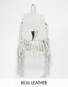 Image 1 of River Island Suede Fringed Mini Backpack