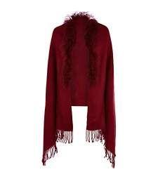 Dark red Mongolian fur trim cape €35.00