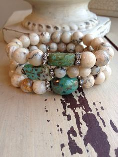 Bohemian African Opal Glam Turquoise Rhinestone by MarleeLovesRoxy, $39.00