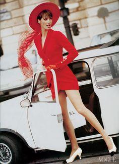 Christy Turlington photographed by Arthur Elgort, 1990. eighties fashion, vintage beetle bug