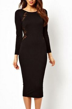 Lace Splicing Back Hollow-out Long Sleeve Bodycon Dress