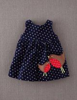 Appliqué Apron Pinnie: Navy/Mini Gold Star Corduroy with Brown/Red Robin Mom/Baby (Apron-Style overlap-wrap in back with closure. Sewing For Kids, Baby Sewing, Toddler Outfits, Kids Outfits, Baby Frocks Designs, Applique Dress, My Baby Girl, Mom Baby, Little Girl Dresses