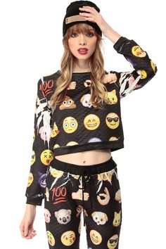 Emoji Print Quilted Crop Top @ Cicihot Top Shirt Clothing Online Store: Dress Shirt,Sexy Womens Shirt,T Shirts,Corset Dress,White T Shirt,Girl T Shirt,Short sleeve top