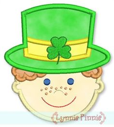 See It All - Boy w/ Shamrock Hat Applique (curly hair) 4x4 5x7 6x10 - Welcome to Lynnie Pinnie.com! Instant download and free applique machine embroidery designs in PES, HUS, JEF, DST, EXP, VIP, XXX AND ART formats.