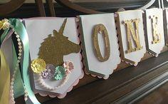 Banner de cumpleaños de unicornio-unicornio primer año Banner