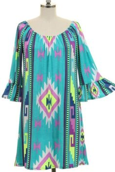 Southwestern Standout Dress in Turquoise – Under The Eiffel Boutique