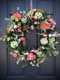 Your place to buy and sell all things handmade Spring Door Wreaths, Easter Wreaths, Wreaths For Front Door, Tulip Wreath, Green Wreath, Floral Wreath, Spring Has Sprung, Summer Diy, How To Make Wreaths