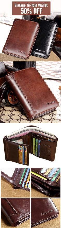 Ferricos RFID Antimagnetic Genuine Leather Vintage Tri-fold Large Capacity Short Wallet For Men.Up To 50% OFF.Shop Today!!!
